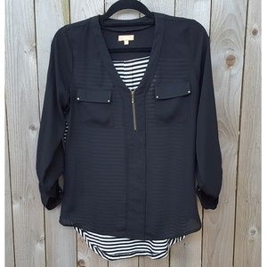 Women's Black Career Hi-Low Top Blouse